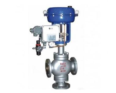 Pneumatic three-way control valve