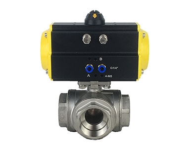 Pneumatic three-way ball valve